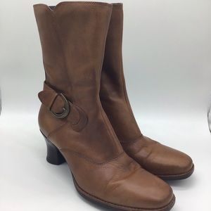 Clarks Brown Leather Boots Size 8